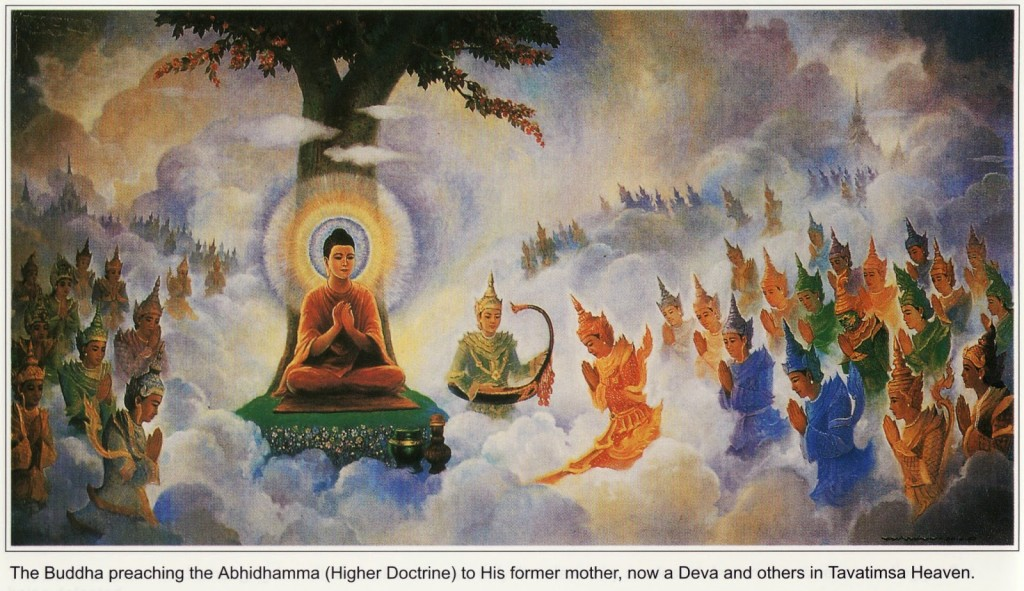 Abhidharma being preached by the Buddha for his mother reborn in Tavatimsa life-of-buddha-44